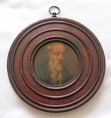 Late 18Th Century Portrait Miniature Old Man In The Manner Of Stobwasser
