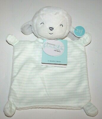 de12ca4c2 Precious Firsts by Carters Lamb/Sheep Green Stripe Security Blanket Square  Lovey