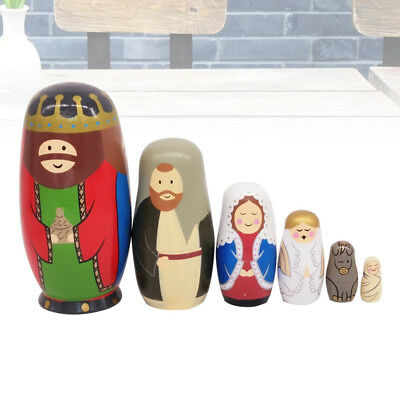 6X Three-faced King Nesting Dolls Toys Children Family Collection Craft Gifts AU