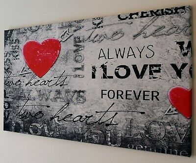 Red Love Heart Verse  Canvas Print Wall Art Picture  18 X 32 Inch