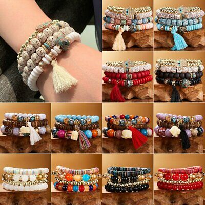 Multi-layer Women Boho Crystal Beaded Beads Bohemia Bracelets Cuff Bangle Set