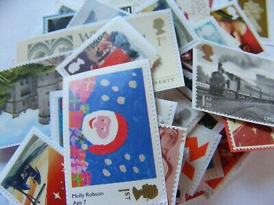 100 1st class xmas mixed stamps unfranked   (lot 2717)