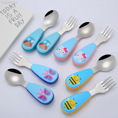 CF46 Animal Pattern Spoonforkset Tool Kitchenaccessory Lovely Eating Cup Tools