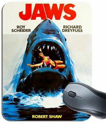 Jaws Vintage Movie Poster Mouse Mat. Novelty Shark Horror Film Mouse Pad Gift
