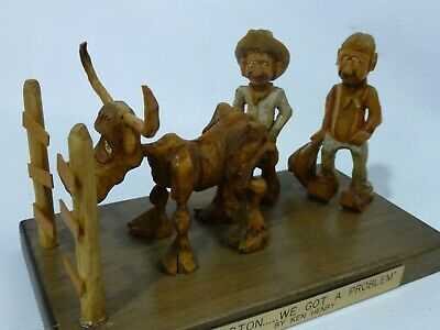 "Hand Carved Wooden Sculpture by Ken Henry Cartoon ""Houston We Got a Problem"" VG"