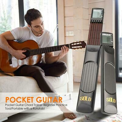 Portable Pocket Guitar Wooden 6 Strings Trainer w/ Chord Chart Screen Practice