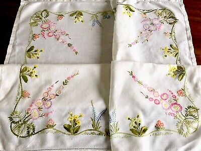Vintage Hand Embroidered White Linen Tablecloth 31x33 Inches