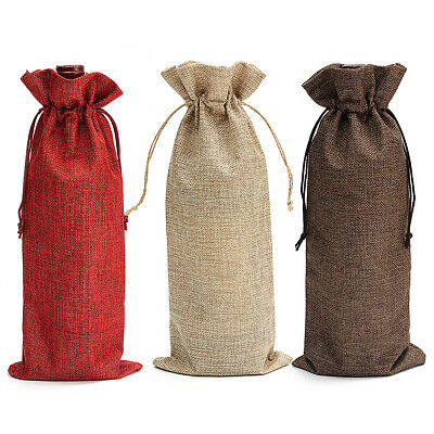 5PCS Natural Jute Burlap Vintage Wedding Favours Hessian Wine Bottle Bags~