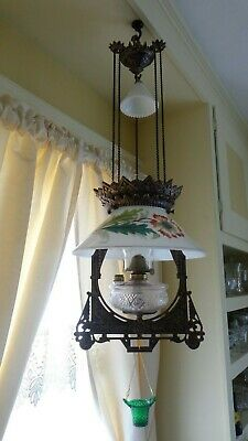 Antique (1870s) Iron Horse Hanging Lamp/ Nice Frame and Shade