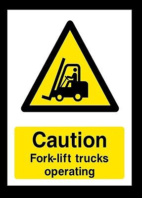CAUTION FORK-LIFT TRUCKS OPERATING Self Adhesive Plastic Sign Sticker S1090-CFT