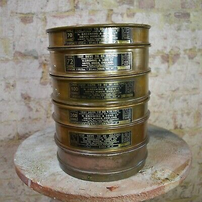 Vintage Five1943 Greening & Sons Brass Test Sieves Laboratory Chemist WW2 Era
