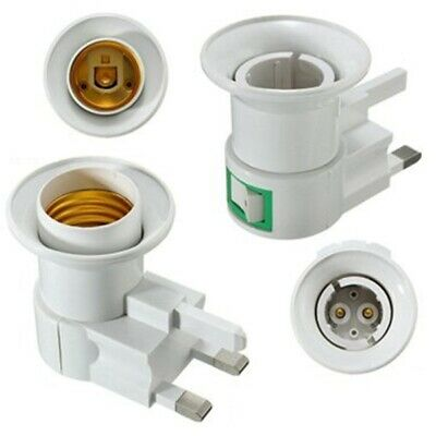 UK Plug E27 B22 Wall Screw Base Light Bulb Lamp Socket Holder Adapter