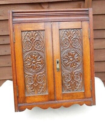 Antique Victorian Fumed Carved Oak Smokers Cabinet Cupboard