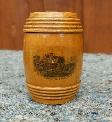 Antique  Mauchline Ware Barrel Shaped Box Souvenir from Bournemouth