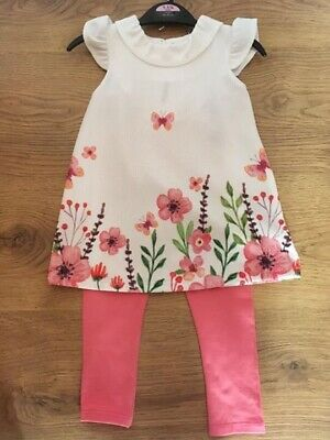 Coral & Cream Floral Girls Outfit 2/3 Years