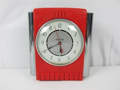 VINTAGE Red NUTONE Art Deco Doorbell Wall Clock Telechron Movement SUPER RARE