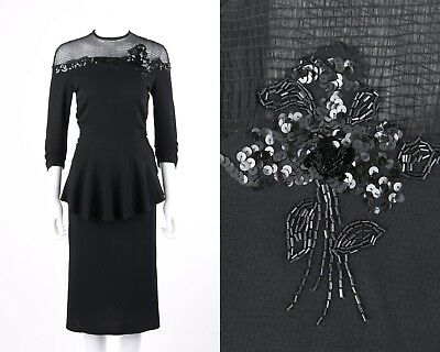 1940s\u00a0\u00a0Black Rayon Long Sleeve Dress With Pleating and Gathering