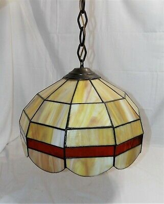 "Vintage Hanging Stained Glass Tiffany Pub Style Lamp / Light Amber & Red 16"" dia"