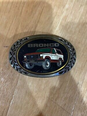 belt buckle bronco jeep Red White Heritage Buckled Solid Brass Ford