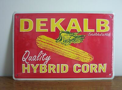 Dekalb Quality Hybrid Corn Embossed Metal Sign Feed Seed Farm Agriculture 12x18