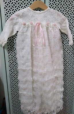 Vintage Mothercare White Lace Christening Dress Baby Girls Baptism free Post