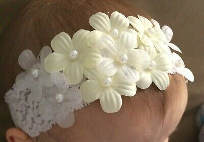 Christening wide baby hair band for baptism wedding flowers crown headband UK