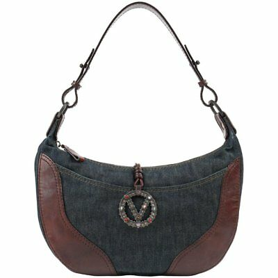 a4fa2685b0eb VALENTINO Garavani S/S 2002 Denim & Brown Leather Signature V Shoulder Bag