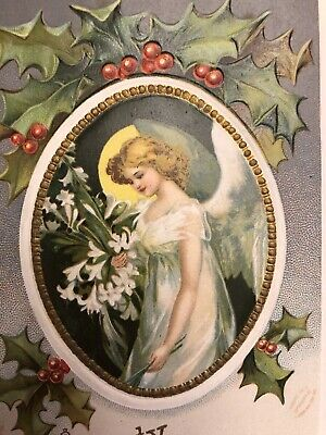 Antique Vintage Christmas Postcard Angel A/S Clapsaddle Gold Germany EMB DB