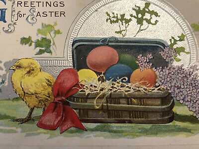 Antique Vintage Art Noveau Fantasy Easter Postcard Lilac Chick Silver EMB 1910