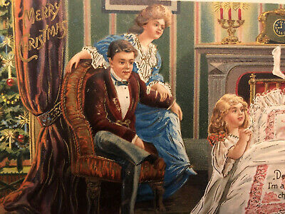 Antique Vintage Christmas Postcard Victorian Mother Father Girl DB EMB Germany