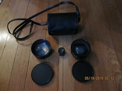 Vtg Yashica / Yashikor Telephoto 1:4 Wide Angle 1:4 W/View Finder Lens Kit Case