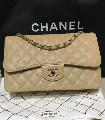 7a5ed6d01f53 New Chanel Large Classic Flap Iridescent Beige Gold Caviar Made In France  19S