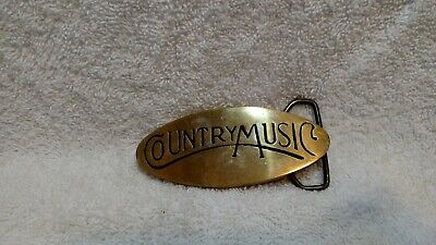 Country Music Solid Brass #713  Belt Buckle Vintage Rare Excellent Condition