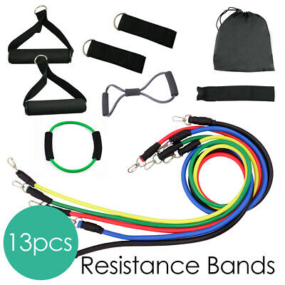 13PCS Latex Resistance Band Roop Yoga Strip Crossfit Fitness GYM Workout Home