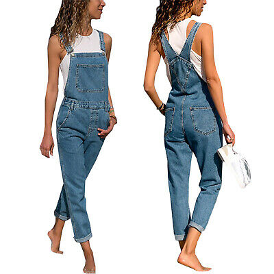 US Womens Denim Jumpsuit Ladies Dungarees Overalls Straps Ripped Jeans Trousers