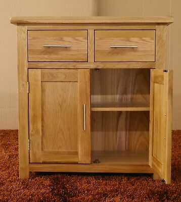 Oak Sideboard Rustic Solid Small Storage Cupboard 2 Drawer Door Cupboard