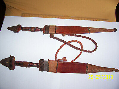 "Knives x2 - ""African Throwing"" w. leather sheaths, Antiques unrestored c.1900"