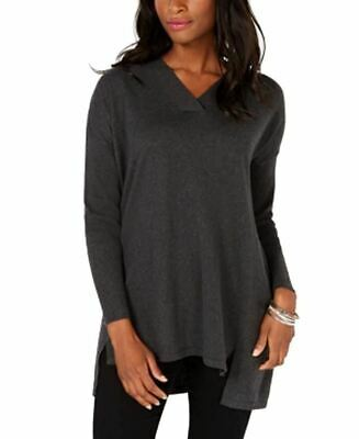 Style & Co. High-Low Over-Sized Tunic Top Black Heather XL