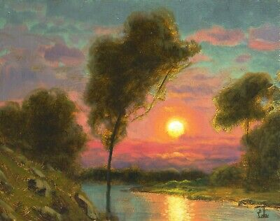 Oil Painting Original Landscape Western Art American Red Clouds Sunset MAX COLE