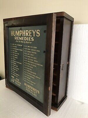 """VINTAGE ORIGINAL HUMPHREYS 2-SIDED REMEDIES CABINET """"77"""" with NUMBERED.DRAWERS"""