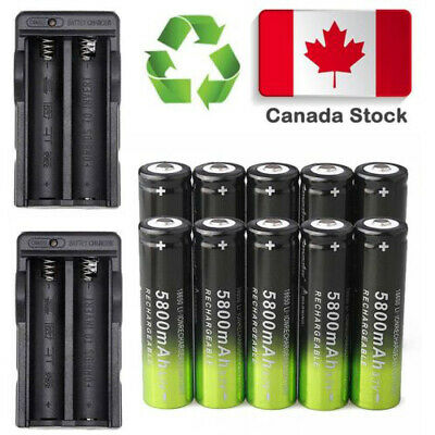8X 18650 5800mAh 3.7V Li-on Rechargeable Battery 2X Dual Charger FOR Flashlight