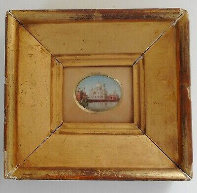 Rare Antique Miniature Painting of the Taj Mahal Grand Tour Circa 1860s