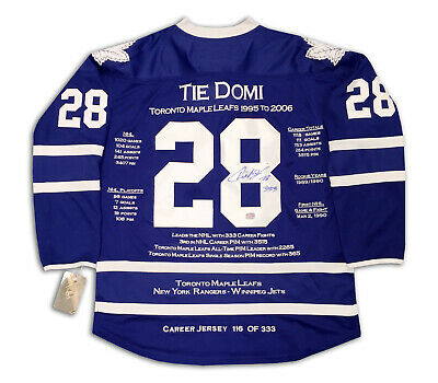 Tie Domi Autographed Blue Career Jersey - LTD ED 333 - Toronto Maple Leafs
