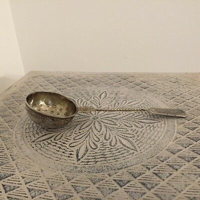 Antique 19th Century Engraved Russian Silver Tea Strainer