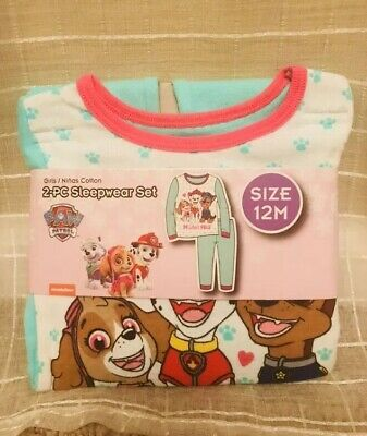 NWT- Nickelodeon Paw Patrol Girls-12 Months Sleepwear Set-Green- Shirt, Pants