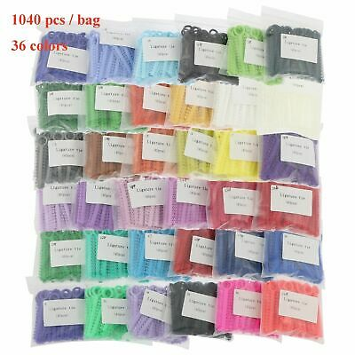 1040 Pcs Dental Ligature Ties Orthodontics Elastic Rubber Bands 37 Colors Choose