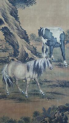 Pair Antique Chinese Qing Dynasty Scroll Paintings Horses Style of  Lang Shining