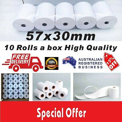 10 Rolls 57x30mm Thermal Paper Rolls EFTPOS Cash Register Receipt High Quality