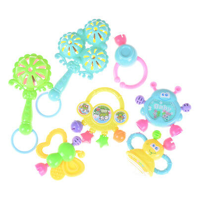 7Pcs Newborn Toddler Baby Shaking Bell Rattles Teether Toys Kids Hand Toys  FE