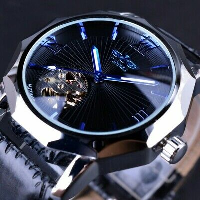 Neu Herren Luxusmode-Luminous Skeleton Mechanische Automatische Leder-Armbanduhr